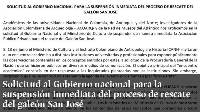 Solicitud al gobierno Nacional para la suspensión inmediata del proceso de rescate del Galeón San José