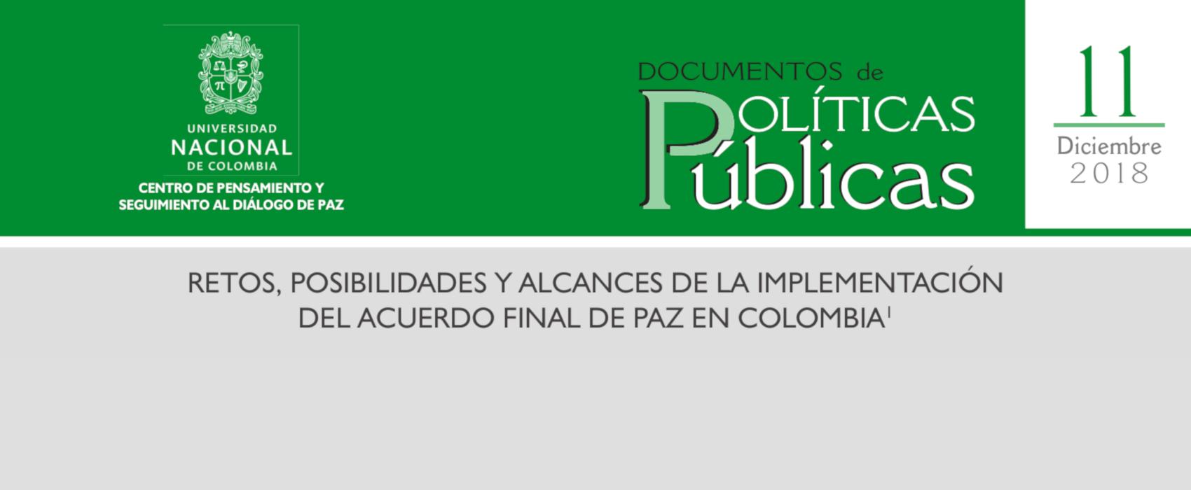 11. «Retos, posibilidades y alcances de la implementación del acuerdo final de paz en Colombia»
